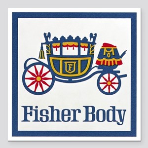 "Fisher Body Square Car Magnet 3"" x 3"""