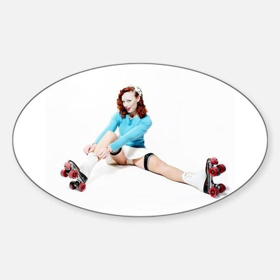 Pinup Girl on Roller Skates Decal