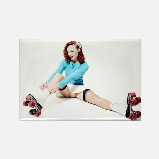Pinup Girl on Roller Skates Magnets