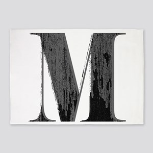 Vintage grungy letter M 5'x7'Area Rug