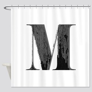 Vintage Grungy Letter M Shower Curtain