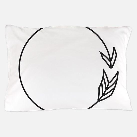 Outlined Arrow Circle Frame Pillow Case