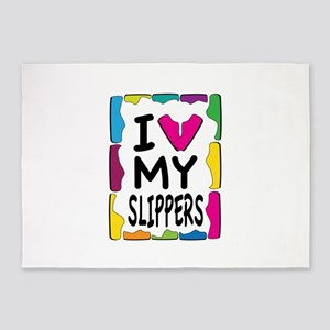 I Love My Slippers 5'x7'Area Rug