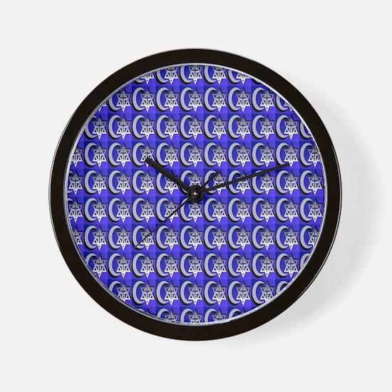 three faiths (tiled) Wall Clock