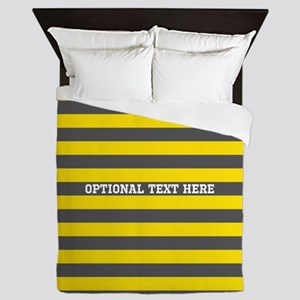 yellow gray rugby stripes Queen Duvet