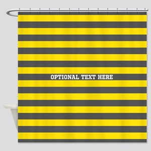 yellow gray rugby stripes Shower Curtain