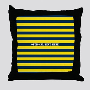 yellow navy rugby stripes Throw Pillow
