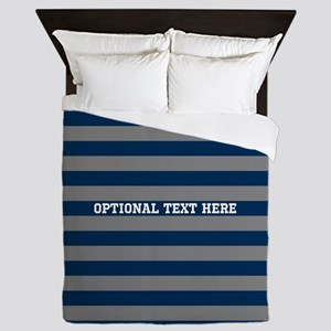 gray navy rugby stripes Queen Duvet