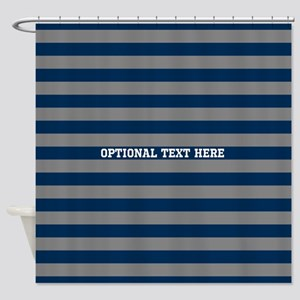 gray navy rugby stripes Shower Curtain