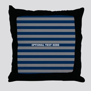 gray navy rugby stripes Throw Pillow