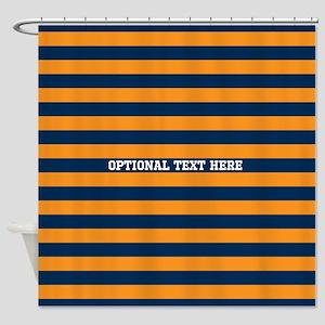 orange navy rugby stripes Shower Curtain