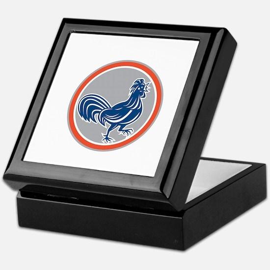 Chicken Rooster Walking Circle Retro Keepsake Box