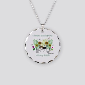 gardening with my dog Necklace Circle Charm