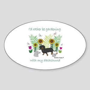 gardening with my dog Sticker (Oval)