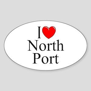 """""""I Love North Port"""" Oval Sticker"""