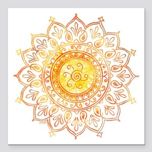 "Decorative Sun Square Car Magnet 3"" x 3"""