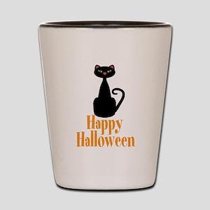 Happy Halloween Black Cat Shot Glass