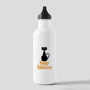 Happy Halloween Black Cat Water Bottle