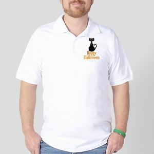 Happy Halloween Black Cat Golf Shirt