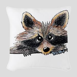 Pocket Raccoon Woven Throw Pillow