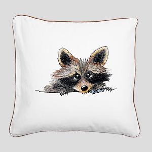 Pocket Raccoon Square Canvas Pillow
