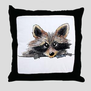 Pocket Raccoon Throw Pillow