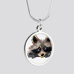 Pocket Raccoon Silver Round Necklace