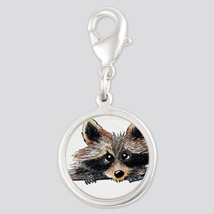 Pocket Raccoon Silver Round Charm