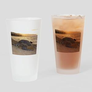 Honu at Sunset Drinking Glass