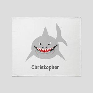 Personalized Shark Design Throw Blanket