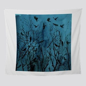 Halloween Crows in Wood Wall Tapestry