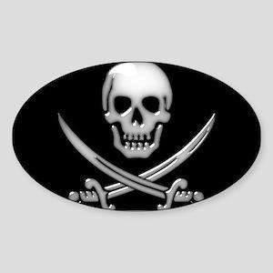 Glassy Skull and Cross Sword Sticker