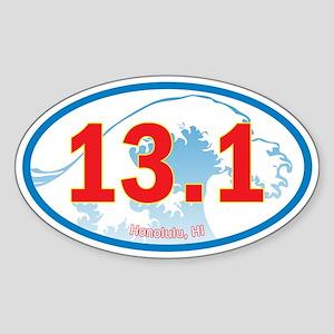 Honolulu Half-Marathon 13.1 Euro Oval Car Sticker