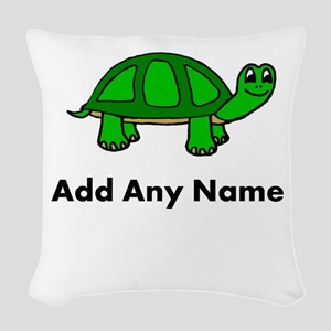 Turtle Design - Add Your Name! Woven Throw Pillow
