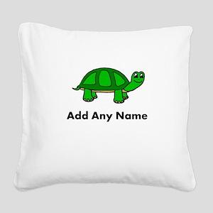 Turtle Design - Add Your Name! Square Canvas Pillo