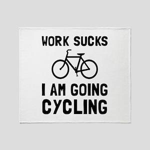 Work Sucks Cycling Throw Blanket