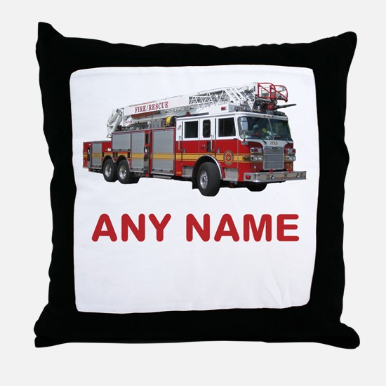 FIRETRUCK with Any Name or Text Throw Pillow