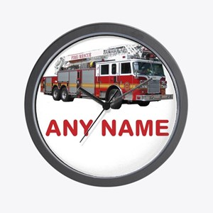 FIRETRUCK with Any Name or Text Wall Clock