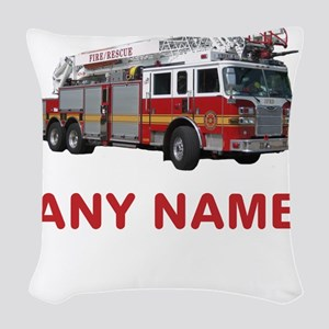 FIRETRUCK with Any Name or Text Woven Throw Pillow