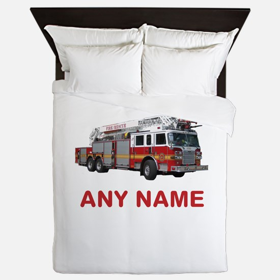 FIRETRUCK with Any Name or Text Queen Duvet