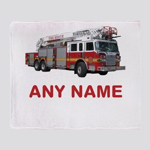 FIRETRUCK with Any Name or Text Throw Blanket