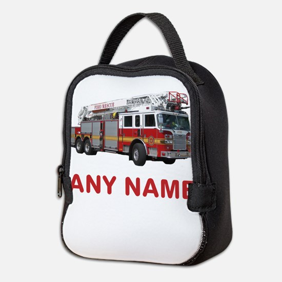 FIRETRUCK with Any Name or Text Neoprene Lunch Bag