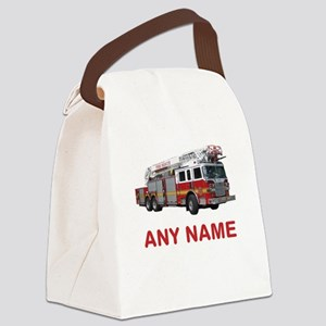 FIRETRUCK with Any Name or Text Canvas Lunch Bag