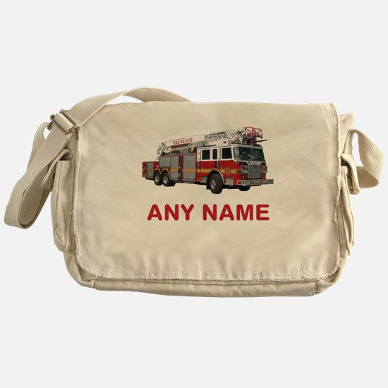 FIRETRUCK with Any Name or Text Messenger Bag