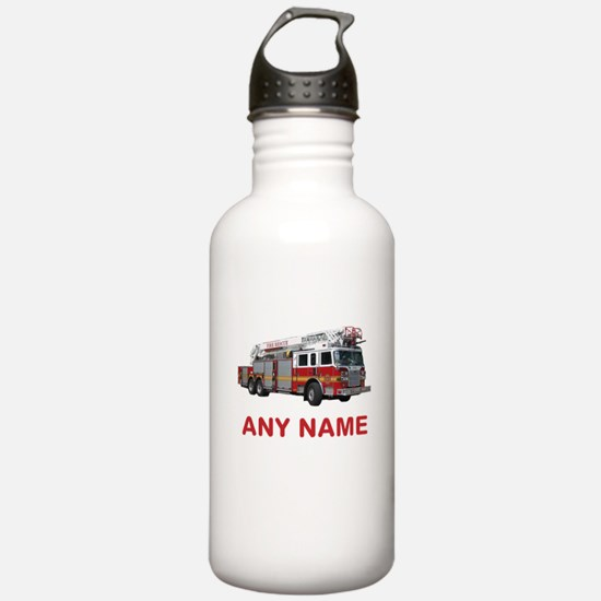 FIRETRUCK with Any Name or Text Water Bottle