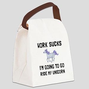 Work Sucks Ride Unicorn Canvas Lunch Bag
