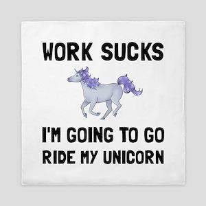 Work Sucks Ride Unicorn Queen Duvet