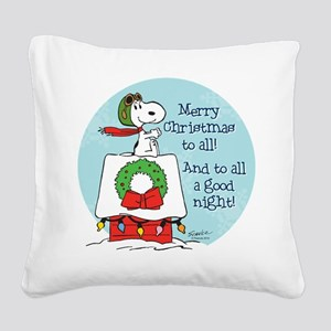 Snoopy: Merry Christmas to Al Square Canvas Pillow