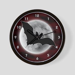 Full Moon Bat Red Wall Clock