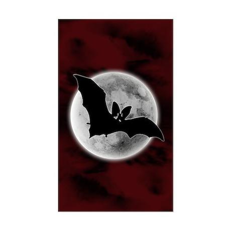 Full Moon Bat Red Rectangle Sticker